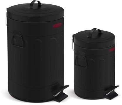 Innovaze 3 2 Gal 12 Liter And 0 8 Gal 3 Liter Old Time Style Round Bathroom And Office Black Color Metal Trash Can Set Walmart Com Metal Trash Cans Trash Can Black Color