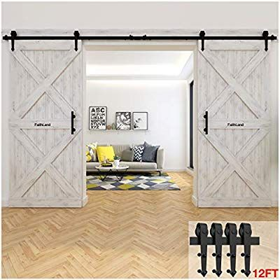 Faithland 12ft Double Sliding Barn Door Hardware Track Kit For Wood Door Closet 12 Foot Rail K Double Sliding Barn Doors Sliding Barn Door Hardware Barn Door