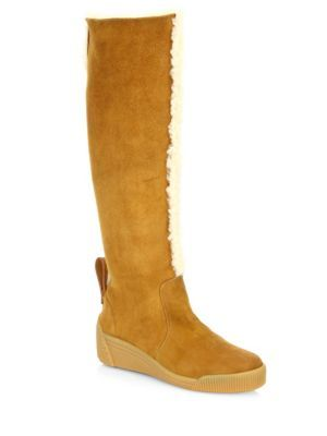 cd8fa364b25 SEE BY CHLOÉ Daria Tall Shearling & Suede Wedge Boots. #seebychloé ...