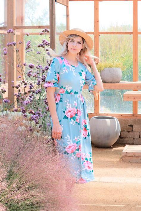 Rose Midi Dress In Powder Blue – Forever DolledUp