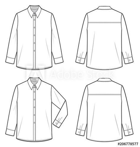 Shirt top fashion flat technical drawing template - Buy this stock vector and explore similar vectors at Adobe Stock
