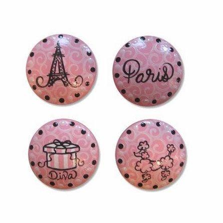 Items similar to Kids Teens Pink Paris Poodle Swirl Drawer Knobs Cabinet Pulls on Etsy