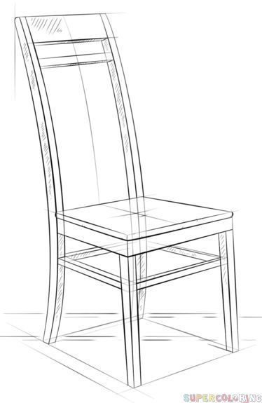 How To Draw A Chair Step By Step Drawing Tutorials For Kids And Beginners Chairdrawing Drawing Furniture Drawing Tutorial Step By Step Drawing