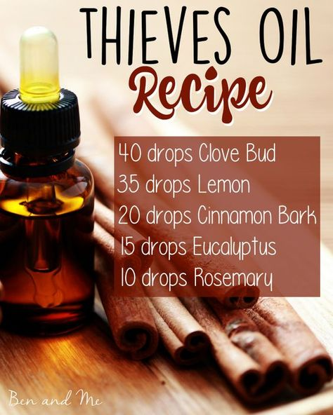 Save BIG by blending your own Thieves Oil! Here's the recipe + 5 common uses for this popular germ-fighting essential oils blend. Try this DIY essential oils recipes blend! Essential Oil Diffuser Blends, Essential Oil Uses, Natural Essential Oils, Young Living Essential Oils, Thieves Essential Oil, Essential Oils For Pain, Essential Oil Blends For Colds, Essential Oil Recipies, Best Smelling Essential Oils