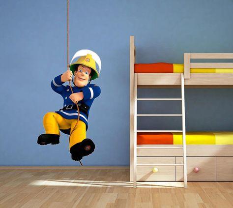 Kids Teens At Home Wall Art Sticker Fireman Sam Full Multi Colour Boys Bedroom Graphics Prints Home Decor