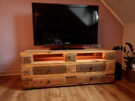 Mein Selbstgebautes Tv Regal Aus Paletten Mit Ausziehbaren