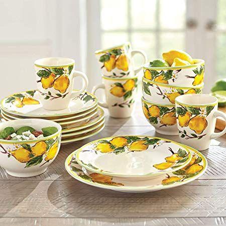 Brylanehome 16 Pc Lemon Dinnerware Set Afflink Lemon Kitchen Lemon Kitchen Decor Lemon Decor