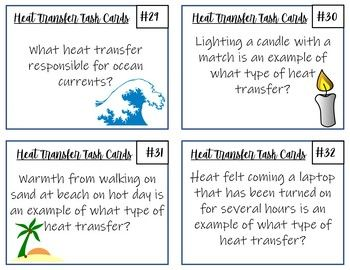 Thermal Energy Transfer Task Cards 32 Cards With Answer Key