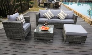 Vancouver Five Or Eight Seater Rattan Garden Sofa Sets With Free