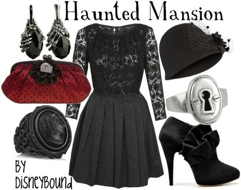 "I am so in ♥ with this ""Haunted Mansion"" outfit!! From the lace to the accessories, this Disneybound just screams 'haunted chic'!! ♥"