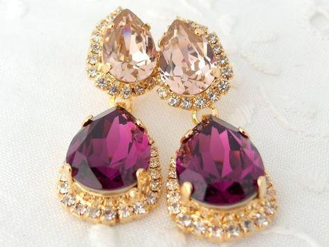 #weddings #jewelry #earrings #bridesmaidgift #bridalearrings #swarovskiearrings #chandelierearrings #statementearrings #dangleearrings #vintageearrings #rhinestoneearrings #swarovskirhinestone #bridalwedding #purpleandpink #amethystpurplepink