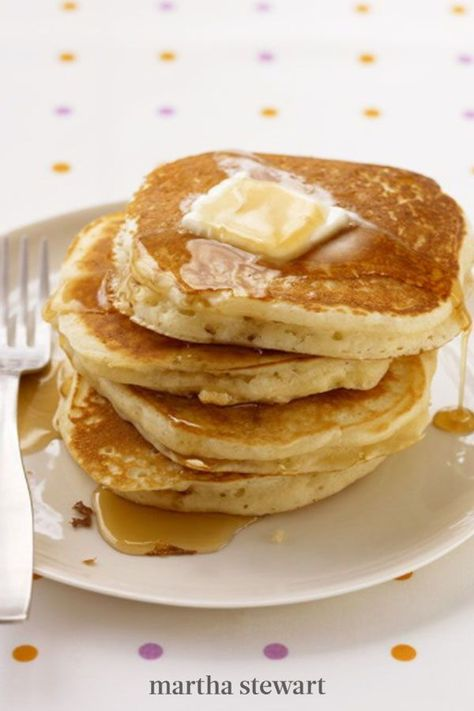 Easy like Sunday morning, that's these pancakes! You probably already have all the ingredients in your kitchen, and the results are so much better than anything made from a boxed mix. Don't skimp on the butter and maple syrup! #marthastewart #recipes #recipeideas #comfortfood #comfortfoodrecipes