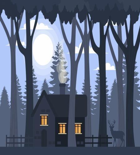 تصميم منزل رهيب بين اشجار الغابة في الليل تحت القمر Landscape Background Landscape Drawings Landscape
