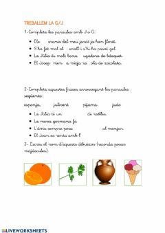 Treballem La G I La J Language Catalan Grade Level Primer De Primària School Subject Llengua Catalana Main Content Ortografia Other Catalan Language Primer