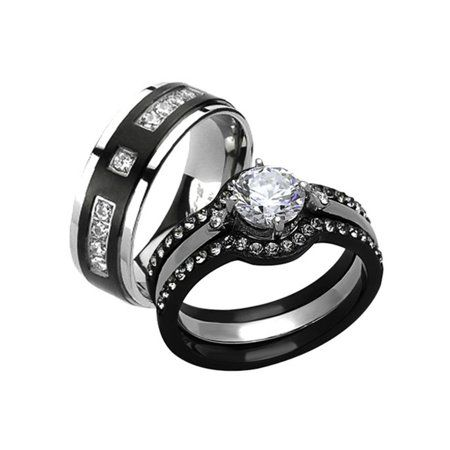 Marimor Jewelry His And Her 4pc Black And Silver Stainless Steel And Titanium Wedding Ring Band Set Size Women S 09 Men S 07 Walmart Com Wedding Ring Bands Set Titanium Wedding
