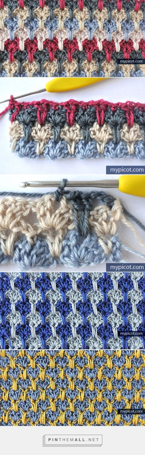 "#Crochet_Stitches_Tutorial - ""Here's a beautiful crochet stitch tutorial with many photos and clear instructions. Great for Color Play!"" via #KnittingGuru ** http://www.pinterest.com/KnittingGuru"
