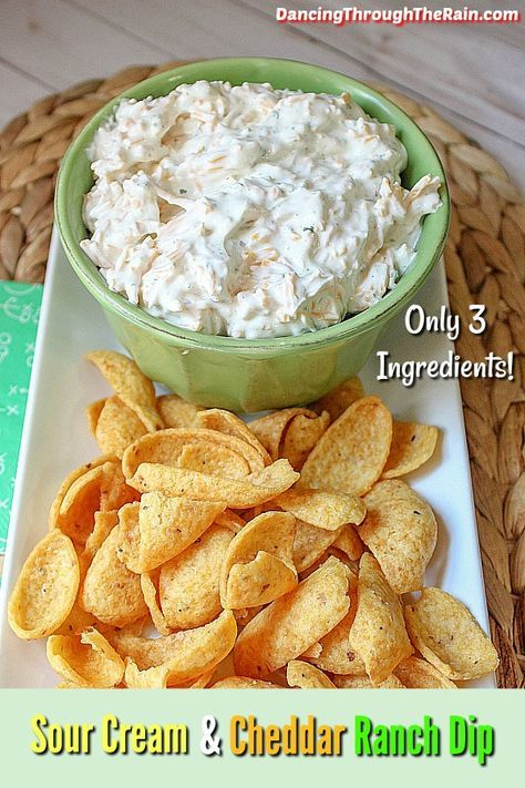 This Cheddar and Sour Cream Ranch Dip is one of those easy appetizer recipes that you can pull out at anytime. With only three ingredients, it is a delicious dip that everyone will love! recipes easy Cheddar And Sour Cream Ranch Dip Chip Dip Recipes, Cheese Dip Recipes, Easy Appetizer Recipes, Snack Recipes, Ranch Dip Recipes, Easy Dip Recipes, Dip Appetizers, Simple Appetizers, Easy Fingerfood Recipes