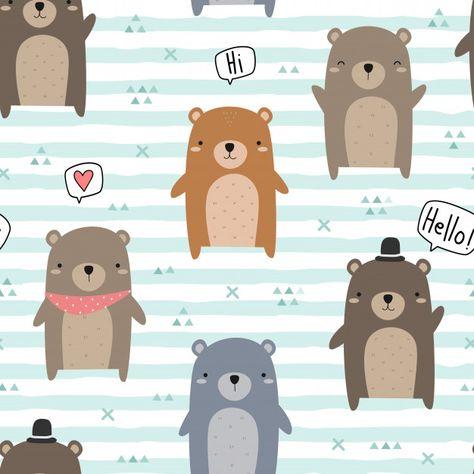 Lindo oso de peluche saludo dibujos animados doodle de patrones sin fisuras   Premium Vector #Freepik #vector #fondo #banner #patron #cartel