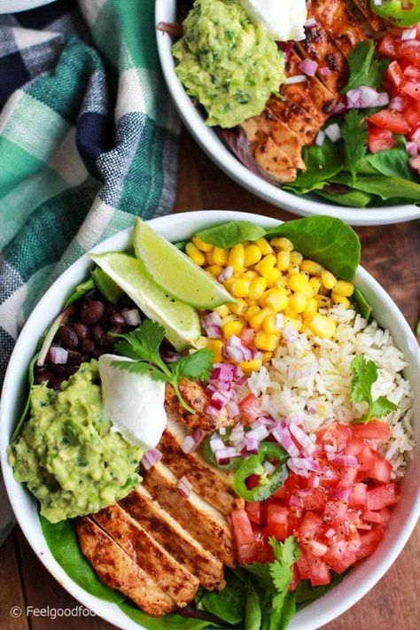 Inspired by the popular Chipotle dish, this Chicken Burrito Bowl is bursting with color, flavor and nutrition - the ultimate healthy dinner any night! | Loaded Burrito Bowl | Easy Dinner | Healthy Meals | Mexican Recipes | #Mexican #burrito #chicken #feelgoodfoodie