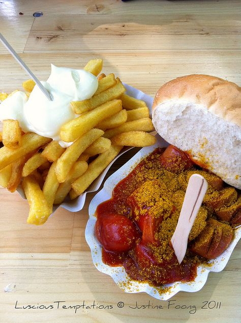 Currywurst & Pommes (mit Mayo! - wie sich das gehört) Please ;) - I learned to love Pommes Frites mit Mayo in Germany. Yummy.