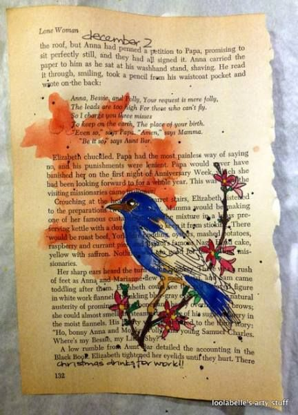 Original Watercolor Painting On Old Antique Vintage Book Pages