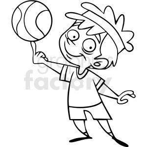Black And White Cartoon Child Playing Basketball Vector In 2020 Black And White Cartoon Clip Art Cartoon