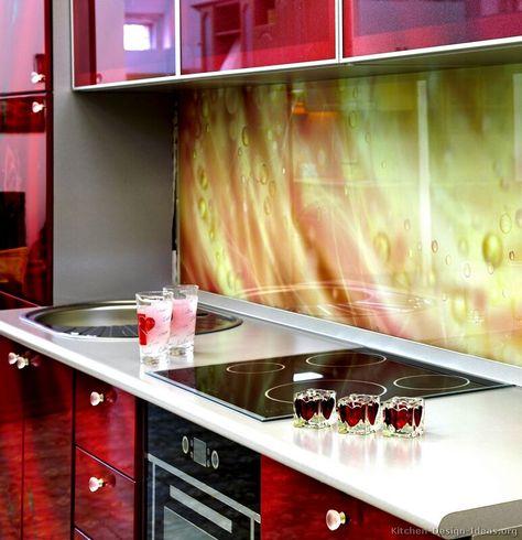 #Kitchen Idea of the Day: A printed glass backsplash. See more backsplash ideas here.
