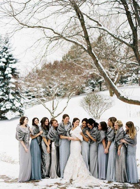 Beautiful Winter Wonderland Wedding Love These Shades Of Blue Grey Bridesmaid Dresses And Blu Winter Bridesmaid Dresses Winter Wedding Dress Winter Bridesmaids