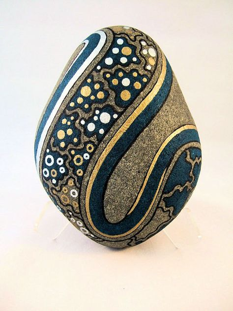 Zen Art Painted Rock Turquoise Gold & Silver Signed von IshiGallery