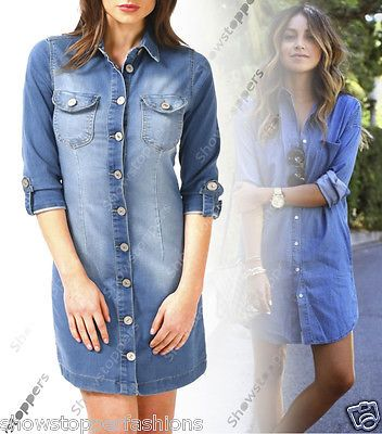fe85755e2f3 Nouvelle veste palangre jean chemise robe dames robes Jean Taille 8 10 12  14 Bleu