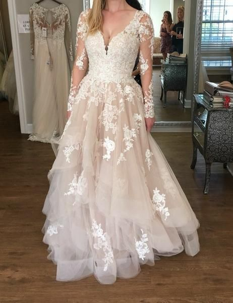 Lace Long Sleeves Champagne Wedding Dresses With Horsehair Skirt Wedding Dress Sleeves Wedding Dress Champagne Wedding Dresses Plus Size