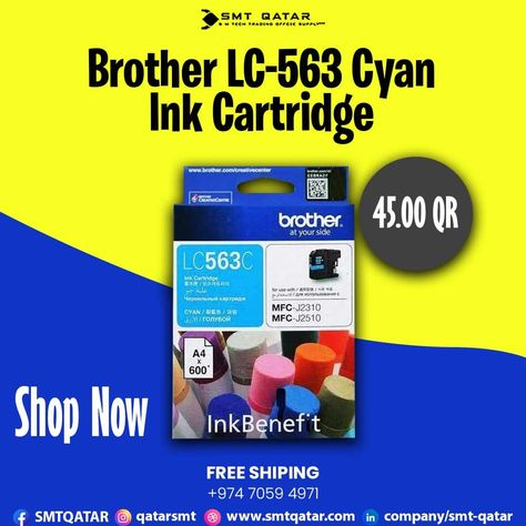 Brother LC-563 Cyan Ink Cartridge with free shipping all over Qatar.