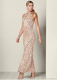 caa3c9486c Sequin detail long dress | My Style | Dresses, Formal dress shops ...
