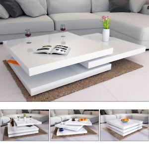 Rotating Coffee Table High Gloss Layers Modern Living Room