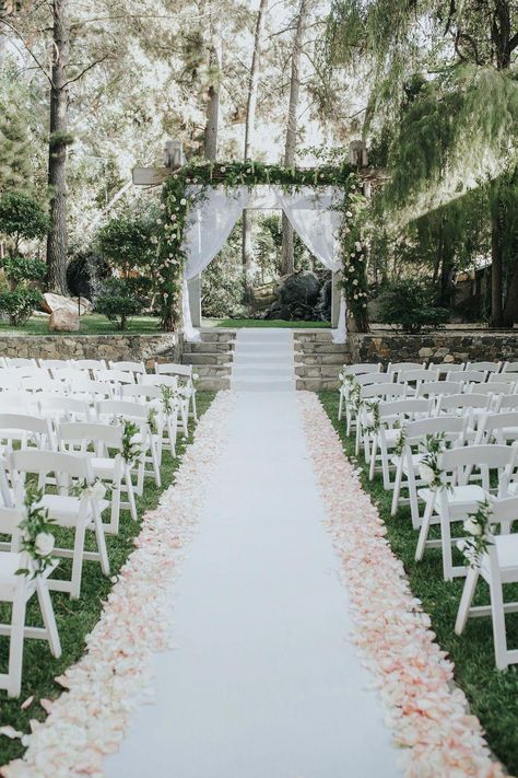 35 Excellent Dreamy Secret Garden Wedding Ideas with Invitations--blush petal li. 35 Excellent Dreamy Secret Garden Wedding Ideas with Invitations--blush petal lined aisle and greenery decorated bac Meteor Garten, Wedding Ceremony Arch, Gown Wedding, Wedding Cakes, Lace Wedding, Wedding Rings, Wedding Dresses, Wedding Favors, Wedding Aisles