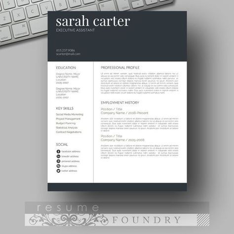 An Easy To Use Resume Template Instant Download Open In Microsoft Word