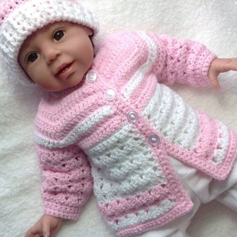 Pink crochet baby set 0 to 3 months girl Baby pink coat | Etsy
