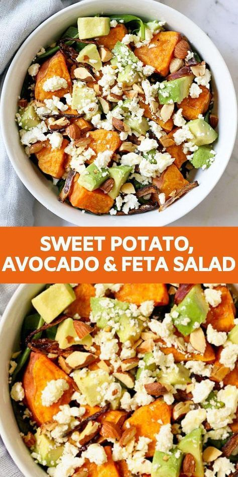 Tired of boring salads? Try this Roasted Sweet Potato, Avocado and Feta Salad with Honey Lemon Vinaigrette. Filled with ingredients that are not only good for you but also taste great and fill you up. Roasted Sweet Potato, Avocado and Feta Salad Recipe Crock Pot Recipes, Veggie Recipes, Cooking Recipes, Healthy Recipes, Healthy Potato Salads, Dinner Recipes With Avocado, Recipes With Feta, Tasty Salad Recipes, Dinner Salad Recipes
