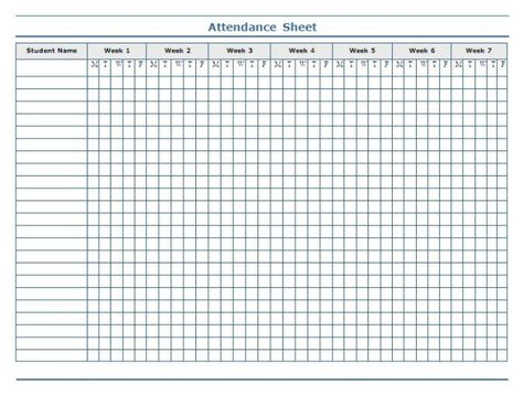 Minimalist Template of Weekly Attendance Sheet in Excel for - attendance sheet for students