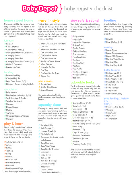 The Baby Checklist  Baby Checklist Babies And Printing