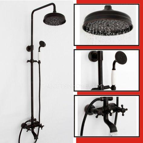 Black Antique Two Handle Shower Faucet System Oil Rubbed Bronze