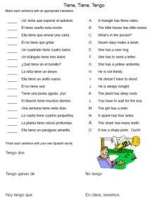 Free Spanish Worksheet Tener Tiene Tengo Matching Sentences