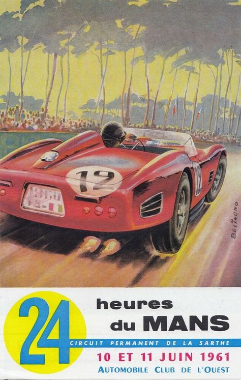 1961 Le mans 24 Hour Race Motor Racing Poster A3//A4 Print