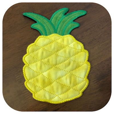 Free In the hoop Pineapple Coaster | Embroidery Kreative
