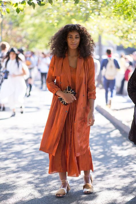 Solange Knowles struts her stuff in a burnt orange dress. See all the street style looks from day 5 of NYFW here