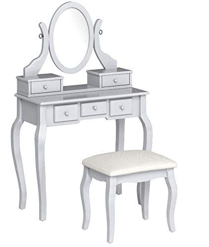 Terrific Roundhill Furniture Ashley Wood Make Up Vanity Table And Caraccident5 Cool Chair Designs And Ideas Caraccident5Info