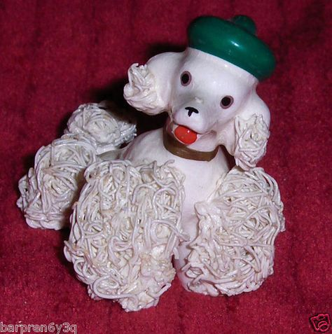Vtg Ceramic Poodle Figurine White Spaghetti Puppy Dog Green St Patricks Day Cap on eBay!