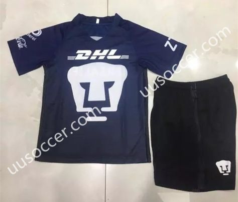 1c5878903 2017-18 Pumas UNAM Away Blue Kids Youth Soccer Uniform