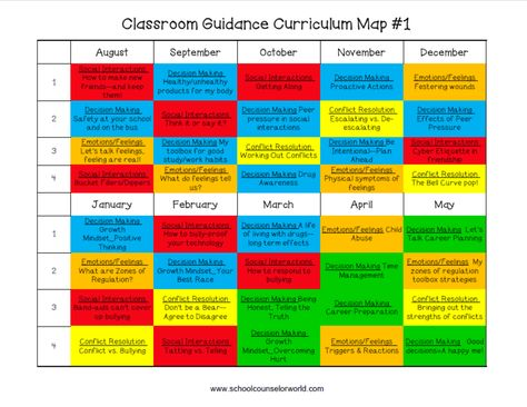 Get an entire year of guidance lessons! Check out our curriculum map. NEVER create another guidance lesson again with our aligned K-6 guidance lessons! We've got more GUIDANCE LESSON Plans, all which are aligned for grades K-6! Each lesson plan has a Word doc for each grade level and a PDF that includes all interactive activities and printables. Curriculum Map | Elementary Guidance Lessons