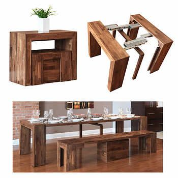 Transformer Table With Bench Walnut In 2020 Coffee Table